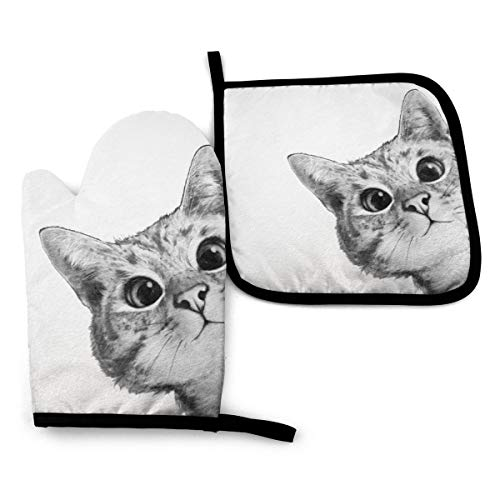 Ameiu-Design Oven Mitts and Pot Holders,Sneaky Cat Advanced Heat Resistant Oven Mitts,Non-Slip Textured Grip Potholders for Cooking Grilling Baking