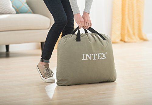 Intex Dura-Beam Standard Series Deluxe Pillow Rest Raised Airbed w/Soft Flocked Top for Comfort, Built-in Pillow & Electric Pump, Bed Height 16.5, Queen
