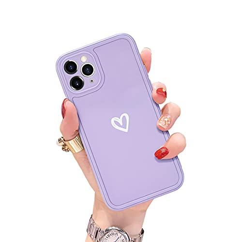 Newseego Coque Compatible avec liPhone 11 Pro, Coque de Protection en Silicone Souple et Fine avec Un Joli Motif Love-Heart Coque Antichoc Flexible pour iPhone 11 Pro-Mauve