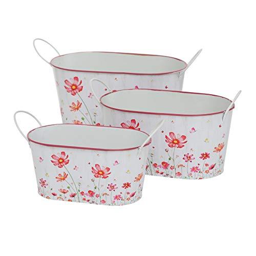 CasaJame Casa Giardino Arredamento Accessori Organizzazione Decorazione Set Di 3 Vasi Portavasi Ovali Per Piante E Fiori Zinco Bianco Rosa Motivo Floreale Dimensioni Assortite