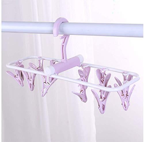 Mini stendibiancheria con 12 mollette da campeggio per calze, biancheria intima, 37 x 10,5 cm, viola