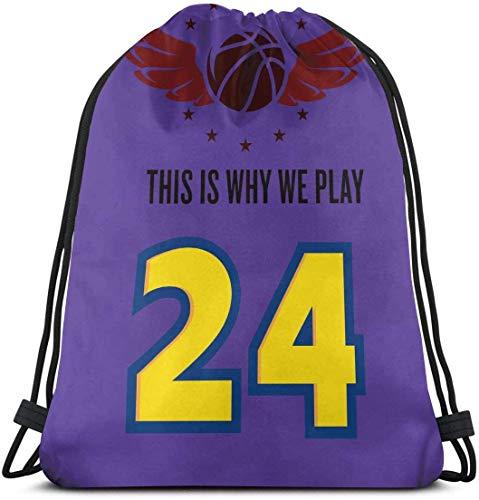 Mochila con cordón School Daypacks Drawstring Backpack This is Why We Play 24 Black Mamba KB Canvas Bulk Sackpack for Men Women String Sports Gym Bag