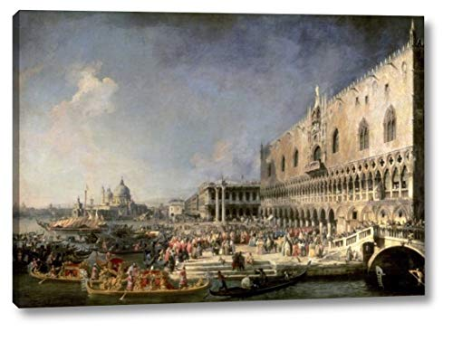 "The Reception of The French Ambassador in Venice by Canaletto - 14"" x 20"" Canvas Art Print Gallery Wrapped - Ready to Hang"
