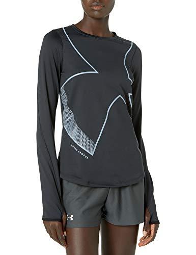 Under Armour ColdGear Graphic Crew T-Shirt à Manches Longues pour Femme Noir (001)/Bleu délavé Taille M
