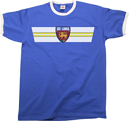 Mens SRI Lanka Retro Strip Patriotic Ringer Herren T-Shirt