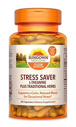 L-Theanine Stress Formula by Sundown, Non-GMOˆ, Free of Gluten, Dairy, Artificial Flavors, 60 Capsules, 200 mg, Packaging May Vary