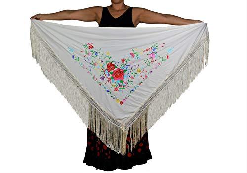 ANUKA Mantel, groß, dreieckig, Flamenco oder Sevillanas, 195 x 95 cm, Weiß