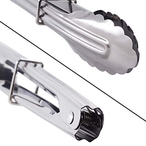 HINMAY Mini Stainless Steel Serving Tongs Small Tongs for Serving Food Cooking Salad Grilling (7-Inch 3 Pieces)