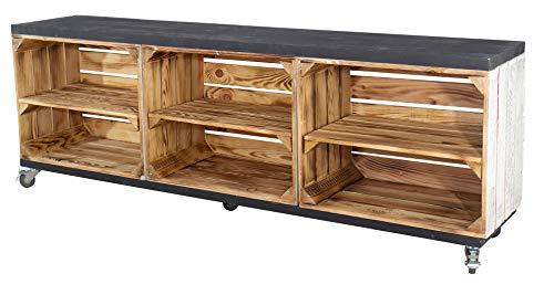 Moooble Rustikales TV Lowboard mit 6 Fächern, 150x53x30cm - Obstkisten DIY Holzbohlen Weinkisten Paletten