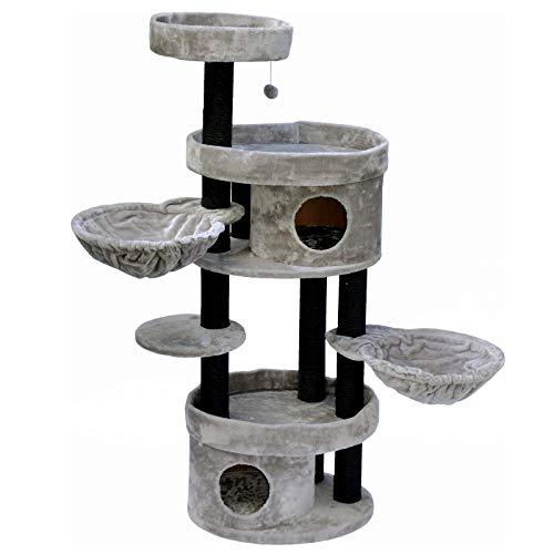 nanook Kratzbaum für große Katzen 153 x 126 x 47 cm hoch – 9 cm Ø Schwarze Kratzstämme – standfest – Zwei Liegemulden – Zwei Katzenhöheln – grau