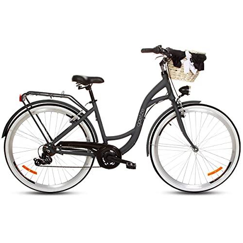 Goetze Mood Alu Damski Rower Miejski, Lekka Damka, 7 Biegów Shimano, Koła 28 Cali, Oświetlenie LED, Kosz Wiklinowy z kolorowym wkładem Gratis!