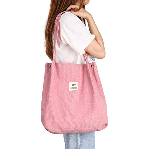 Gophra Corduroy Tote Bag for Women Girls Kids Shoulder Bag with Inner Pocket For Work Beach Lunch Travel And Shopping Grocery (Light Pink)