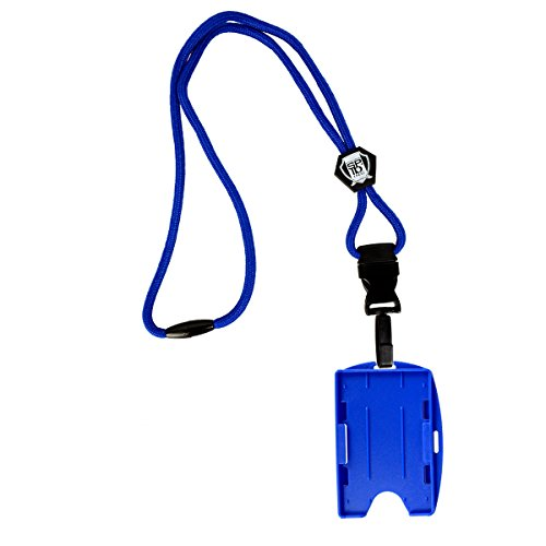 Heavy Duty Royal Blue Lanyard with Detachable Quick Release 2-Card Hard Plastic ID Badge Holder - Metal Detector Friendly by Specialist ID
