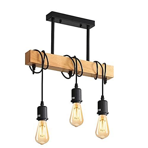 Comely Lámpara Techo Colgantes, Lamparas de Techo Retro, 3 Luces E27 Lámpara Colgante Techo de Madera para Comedor, Sala, Cuarto, Balcón (No Incluido Bombillas)
