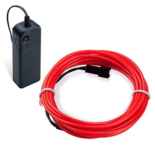 Lysignal Wasserdicht Flexibel 5M 15 FT Neon Beleuchtung Lichtschlauch Leuchtschnur EL Kabel Wire mit 3 Modis für Disco Party Kinder Halloween Kostüm Kleidung Weihnachtsfeiern (Rot)