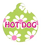 1.25' Green Daisy Personalized Hi-Def Pet ID Tag with Silencer, Medium, Yellow Dog Design