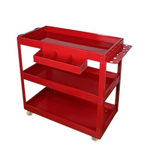 LiChaoWen Carritos de Servicio Carrito de Herramientas de Tres Niveles Trolley Tool Cabinet Mobile Shelf Tool Cart (Color : Red, Size : 65x35.5x74cm)