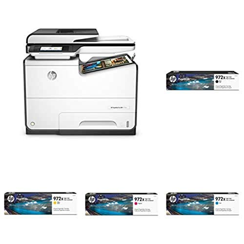 HP PageWide Pro 577dw Color Multifunction Business Printer with Wireless & Duplex Printing (D3Q21A) with High Yield 4 Color Ink-Cartridges