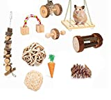 <span class='highlight'><span class='highlight'>ESRISE</span></span> Hamster Chew Toys, Bunny Gerbil Rat Guinea Pig Chinchilla Natural Wooden Chew Toys, Dumbbells Exercise Bell Roller Teeth Care Molar Toy (Natural-A10)