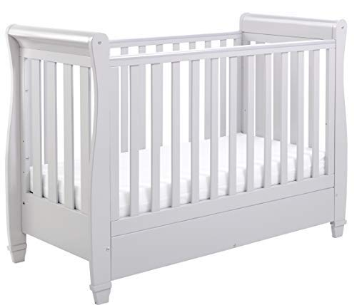 Babymore Eva Sleigh Cot Bed Drop Side with Drawer & Fibre Mattress | Solid Pine Wood | Converts into Day Bed, Toddler Bed | Teething Rail (Grey)