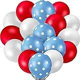 55 Pieces Party Balloon Polka Dot Latex Balloons, Includes 20 Pieces Red Balloons 20 Pieces White Balloons and 15 Pieces Blue and White Dot Balloons for Wedding Birthday Party Festival Decoration