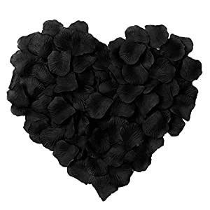 HLLbuy 2000 Pieces Black Artificial Flower Petals Silk Rose Petals for Wedding Party and Home Decor