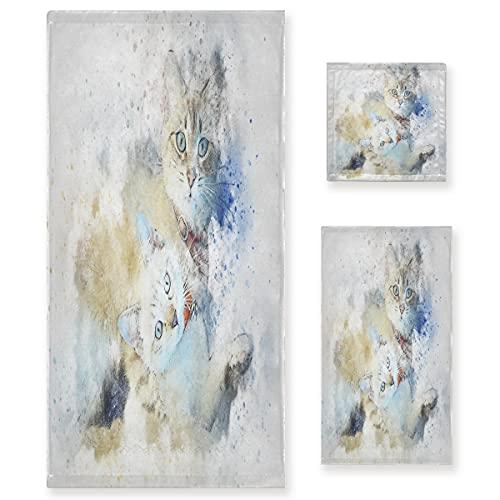 Gato Abstracto Blanco Juego de Toallas para Baño Playa 100% Algodón de Piscina Toalla (1 Toalla de Baño y 1 Toalla de Mano y 1 Paño de Lavado) para Nadar Hotel Niñas Niños Niños