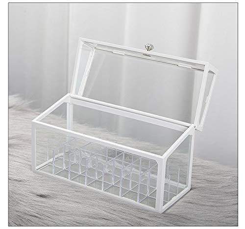 Caja de almacenamiento de esmalte de uñas, caja de almacenamiento de vidrio de aceite esencial,soporte de exhibición de viaje, puede contener 20 botellas caja de almacenamiento de aromaterapia(blanco)