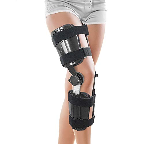 ORTONYX Hinged Adjustable Knee ROM Brace Support Stabilizer Immobilizer - One Size Fits Most - Black