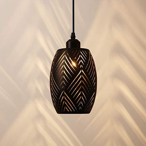 OYGROUP E27 Lampada a sospensione Paralume in metallo scavato Apparecchio d'attaccatura vintage rustico per ingresso cucina Ingresso tavolo da pranzo, Nero