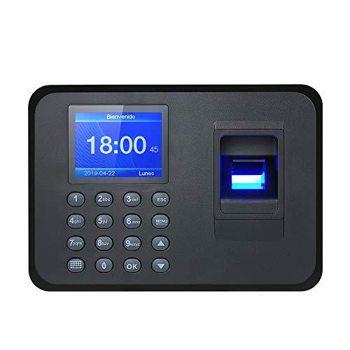 Decdeal Máquina biométrica de Asistencia de Huellas Dactilares y contraseñas, 2.4 TFT LCD Pantalla de USB Reloj de Tiempo Registro de Entrada de Empleado, Soporte Configuración de Español y Portugués