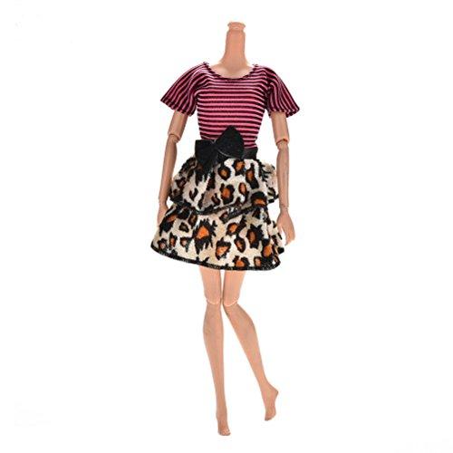 Lsmaa Poppenaccessoires Mode Rose & Zwarte Strepen Luipaard Jurken voor Barbie Poppen