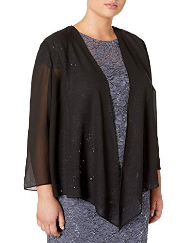 Alex Evenings Women's Plus-Size Wraps, Shawls, Cover Ups, and Evening Jackets, Black Pointed Hem, 3X