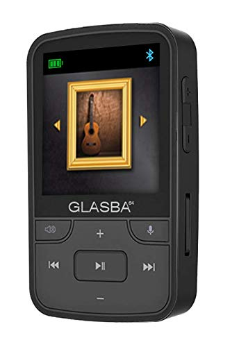 Samvix GLASBA 64GB MP3 Player with Bluetooth 64GB, with Wearable Clip for Sport, Kosher Music Player Without FM, NO Radio, NO SD Slot, NO Video, Voice Recorder, Mp3 Players (Black)