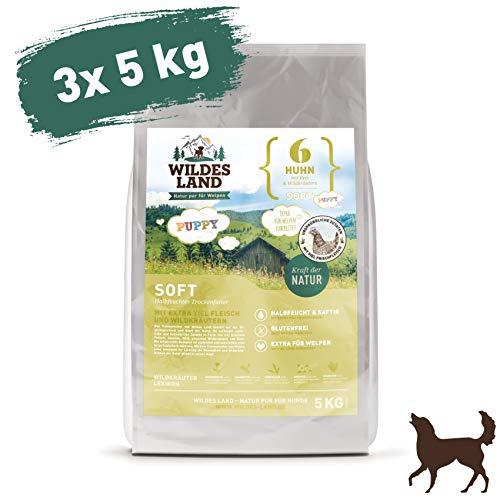 Wildes Land | Halbfeuchtes Trockenfutter für Hunde | Nr. 6 Puppy & Huhn | 15 kg | mit Reis und Wildkräutern | Glutenfrei | Extra viel Fleisch | Soft Beste Akzeptanz und Verträglichkeit
