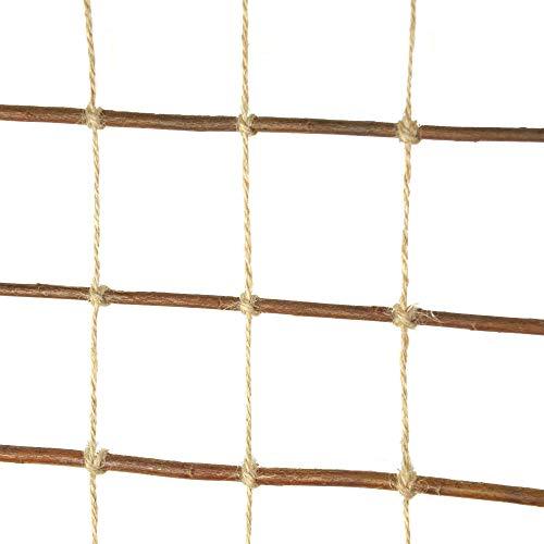 Floranica® Rankhilfe, Rankgitter, Rankleiter aus gekochter natürlicher Weide und Juteschnur bedenkenlos für Gartengemüse und Tiere, Länge: 200 cm, Breite:50 cm - 2