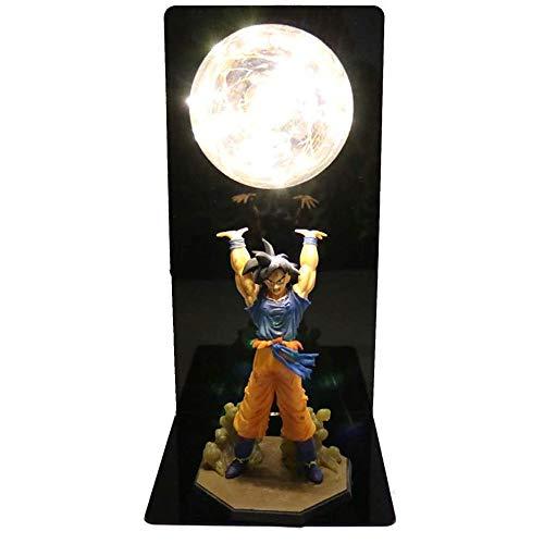 ZFF-LDD Lámpara de Mesa LED luz de la Noche, la Figura de acción 3D Goku Súper Bomba de espíritu Genki Dama de Escritorio, lámpara Figura de acción de Sistema Entero, Caja de Color (Color : Yellow)