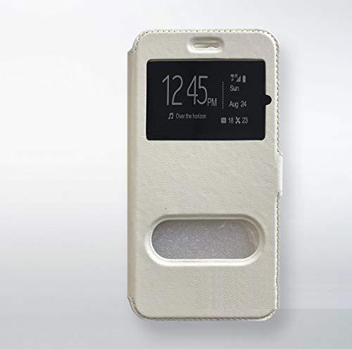 Beschermhoes voor Wiko Sunny, flip case (wit), standvenster, dunne siliconengel, zacht, TPU
