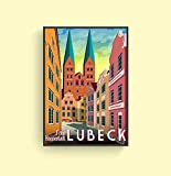 Framed Print Germany Poster, Lubeck Cityscape Street