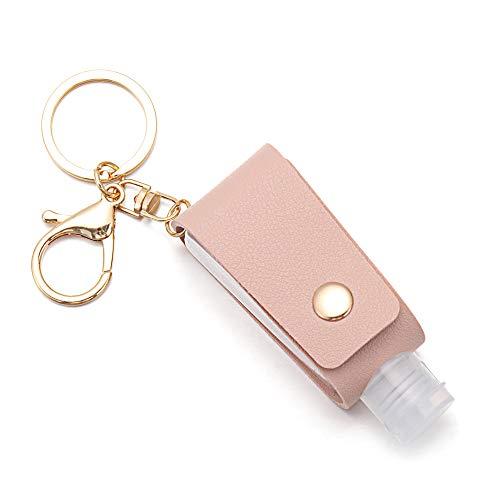 Llavero portátil recargable reutilizable botella de viaje Jabón Contenedores de cuero titular Bolsas Squeeze Botellas (rosa)