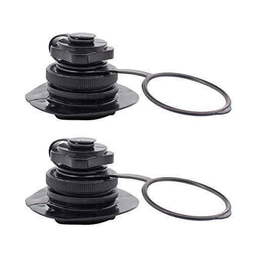 Lot de 2 valves de kayak gonflables pour bateaux pneumatiques de pêche - 22 mm - Noir