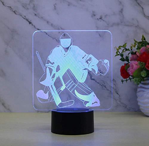 New Hockey Goalie 3D Nachtlicht Touch Fernbedienung Aufladen Von Eis Geknackt Sieben Farben Nachtlicht
