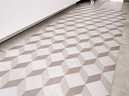 TappetoSuMisura Mosaic Runner Passatoia Vinilica Grigia Lavabile Antiscivolo Antimacchia Sottile per Corridoio E Cucina 60x400 cm
