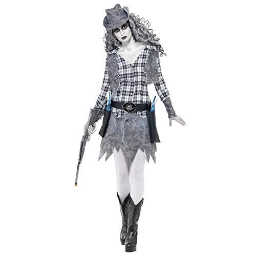 Smiffy's Halloween Ghost Town Cowgirl Costume con Cappello/Gilet/Cinghia E Dress, Small, Grigio