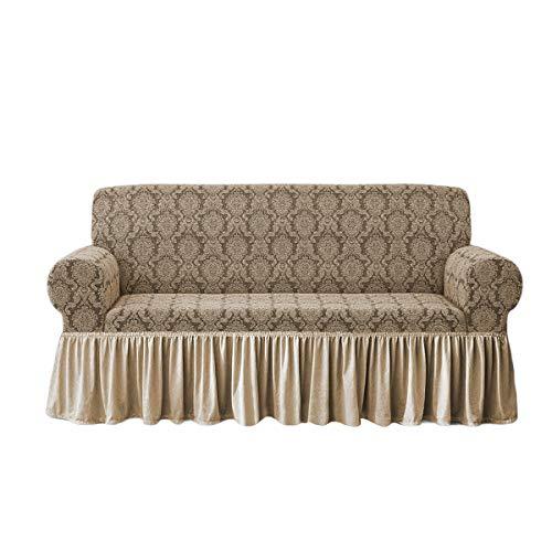 Sofabezug Irge Charlotte 2-, 3-, 4-Sitzer-Sofa, elastisch, Damast-Sofa (beige, 3-Sitzer)