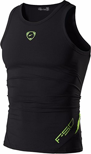 jeansian Hombres Camiseta De Tirantes Deportivas Wicking Quick Dry Vest tee Tank Top Verano Correr Training LSL3306 Black S