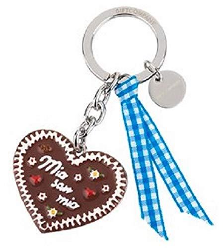 Schlüssel-Anhänger Lebkuchen-Herz mia san mia Handy-Anhänger Taschen-Anhänger Geschenk-Idee Frau & Mann Glücks-Bringer