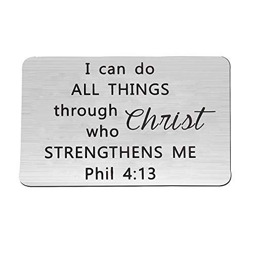 FOTAP Philippians 4:13 Wallet Card Insert I Can Do All Things Through Christs Who Strengthens Me Religiöse Wallet Card Inspirierendes Geschenk für Sie oder Ihn Karte im Brieftaschenformat 4:13.