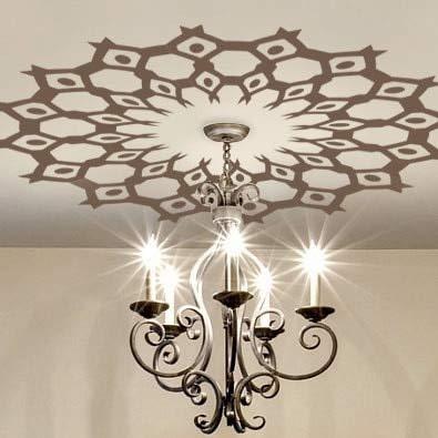 Lámpara de Techo medallón Vinilo Adhesivo de Pared lámpara de araña extraíble círculo calcomanía de Pared Vintage decoración del hogar Mural 42x42 cm