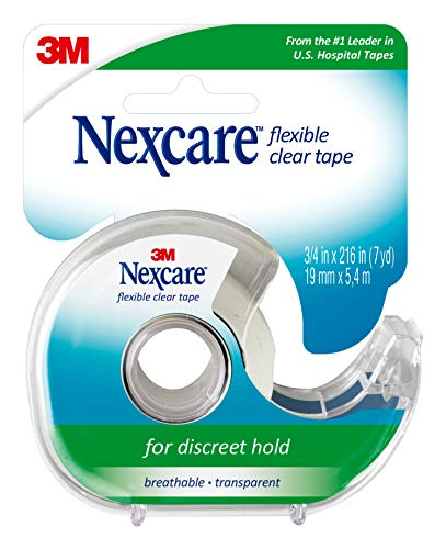 Nexcare Flexible Clear First Aid Tape, for Discreet Hold, Breathable, Transparent, Dispenser, 3/4 in x 7 yds